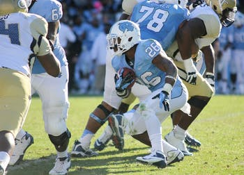 Redshirt sophomore Giovani Bernard's touchdown and 172 all-purpose yards weren't enough for the Tar Heels to overcome the Yellow Jackets on Saturday.
