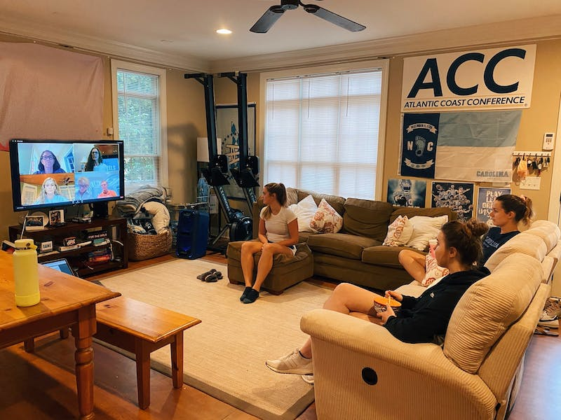 Members of UNC women's rowing team attend the Zoom webinar honoring the late UNC rower Brittany Burns. Photo courtesy of Emilie Gross.