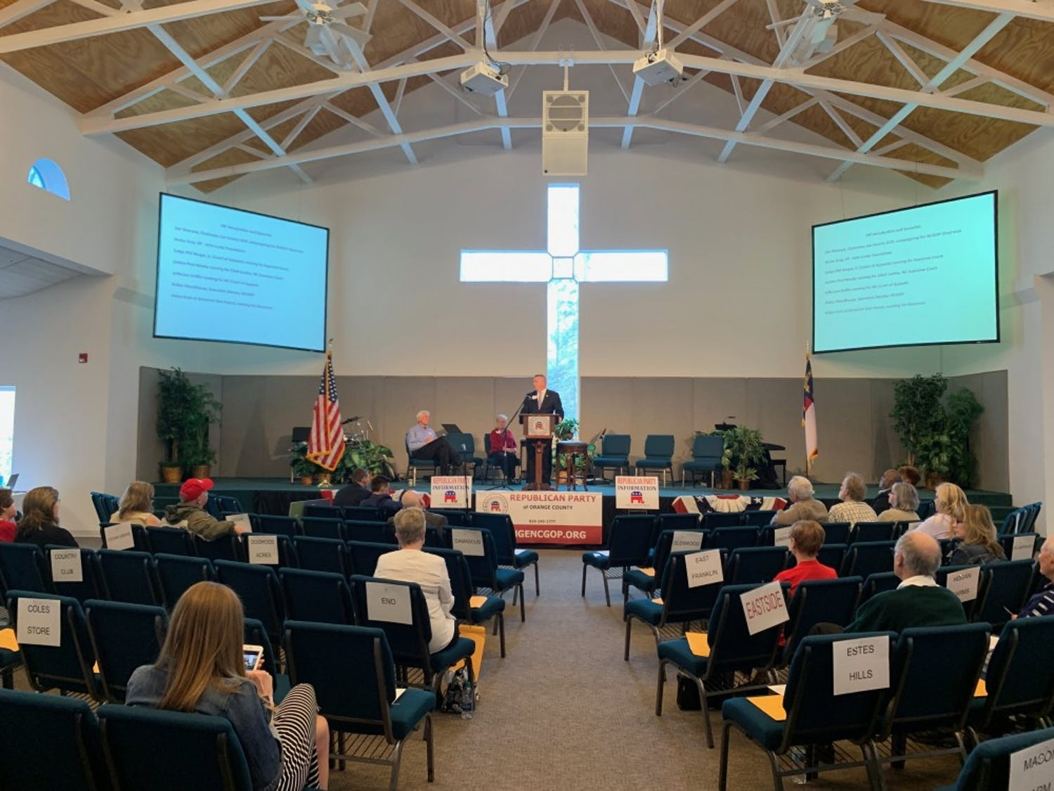 Phil Berger speaks at the Orange County Republicans Convention about his campaign for N.C. Supreme Court. The convention was at Sunrise Church on Saturday, March 30, 2019.
