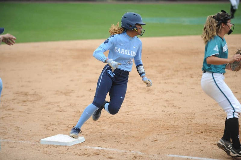 Junior infield Tainasha Vines (30) makes it to third base safely during the game against Costal Carolina  University on Tuesday, April 9, 2019 at the Anderson Softball Stadium. UNC won 9-0 against Costal Carolina University.