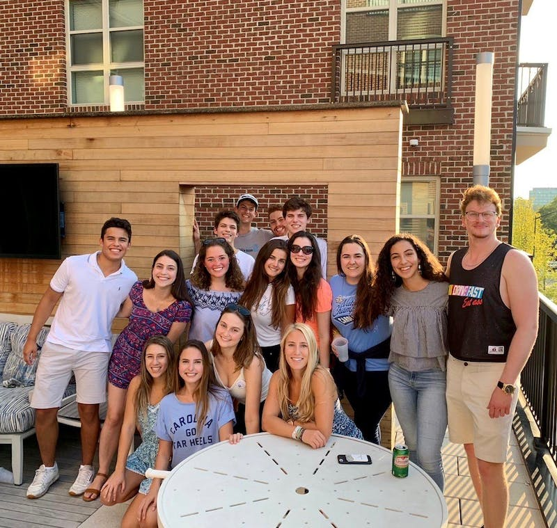 Members of the Brazilian Student Association (BRASA) at UNC pose at a meeting. Photo courtesy of Francesca Del Posso.