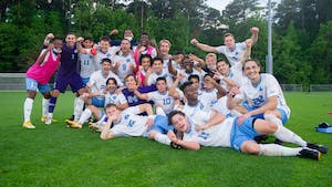 The UNC Men's Soccer Team advances in the College Cup after winning the game against Wake Forest on Monday May 10, 2021 at the WakeMed Soccer Park in Cary, NC. Photo courtesy of Dana Gentry.