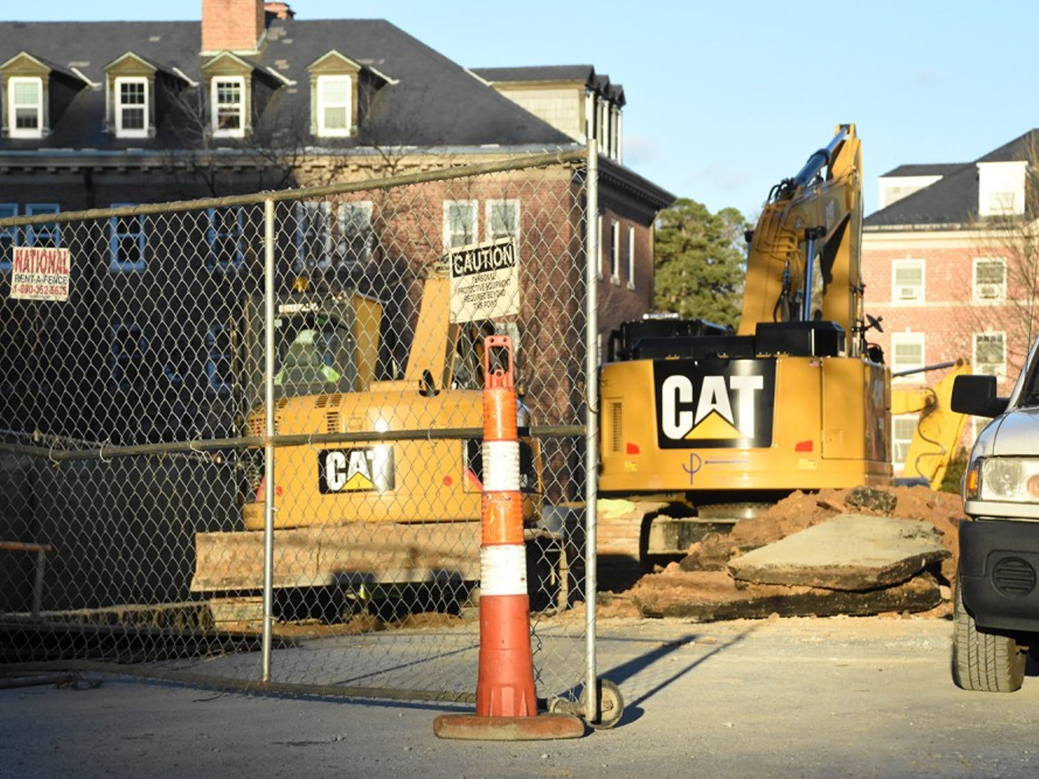There is construction on Lenoir Drive behind Davis library.