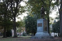 Silent Sam is located on McCorkle Place in Chapel Hill.