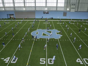 UNC Football team practices in Koman Practice Complex on Friday, Aug. 6, 2020. Photo courtesy of UNC Athletics Communications.