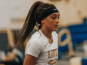 """UNC women's basketball commit Destiny Adams wears the words """"Black Lives Matter"""" on her wrist during games for Manchester Township High School. Photo courtesy of Lisa Adams."""