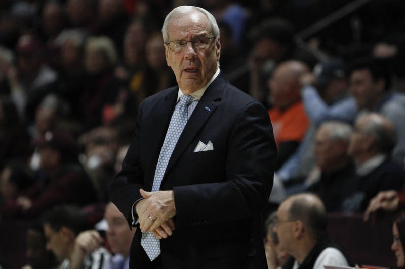 Head Coach Roy Williams reacts during the game against Virginia Tech on Wednesday, Jan. 22, 2020 in Cassell Coliseum. After two overtimes, UNC fell to VT 79-77.