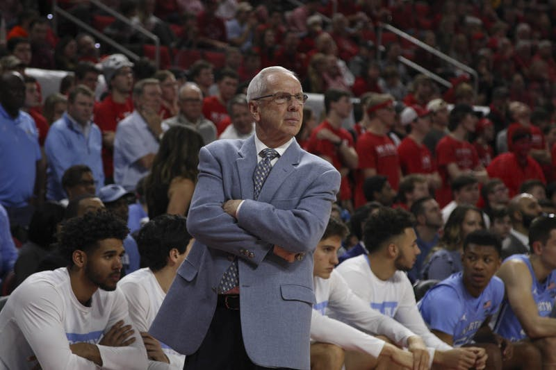 Head Coach Roy Williams observes the game against N.C. State in PNC Arena on Monday, Jan. 27, 2020. UNC defeated N.C. State for the seventh time consecutively 75-65.