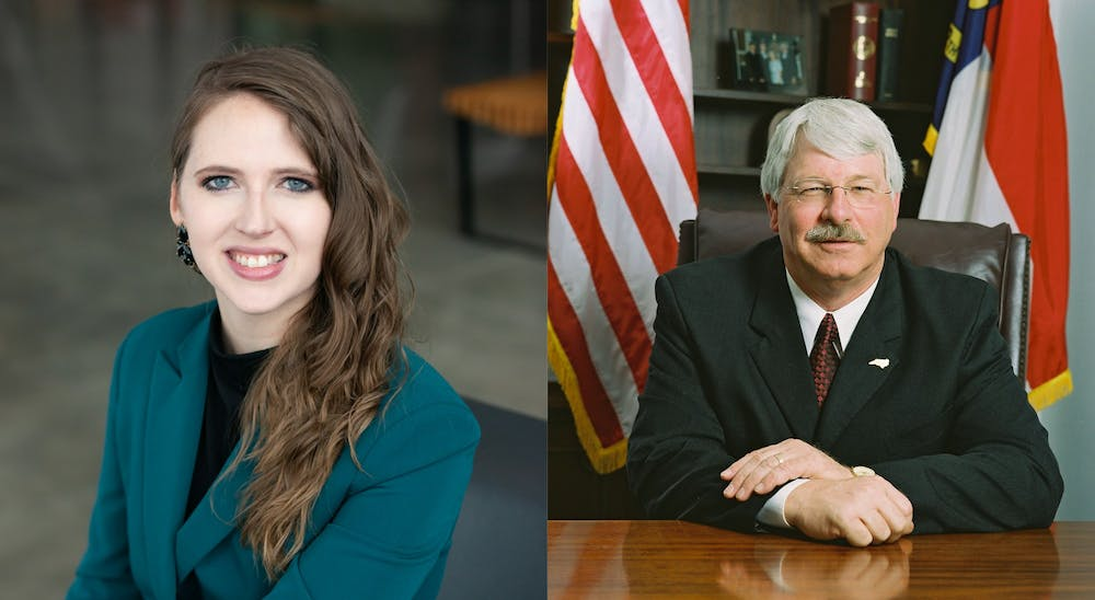 <p>Democrat Jenna Wadsworth (left) and incumbent Republican Steve Troxler (right) are the candidates for N.C. Commissioner of Agriculture. Photos courtesy of Wadsworth and Troxler.</p>