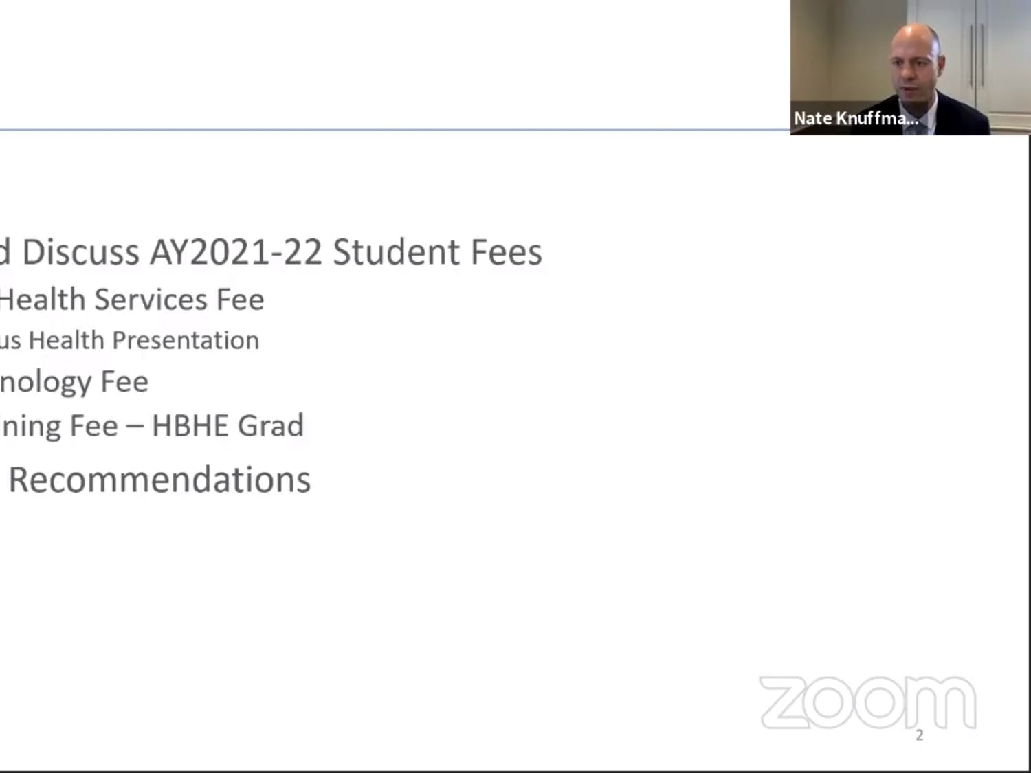 Screenshot from the Student Fees Advisory Subcommittee virtual meeting on Thursday, October 22, 2020.