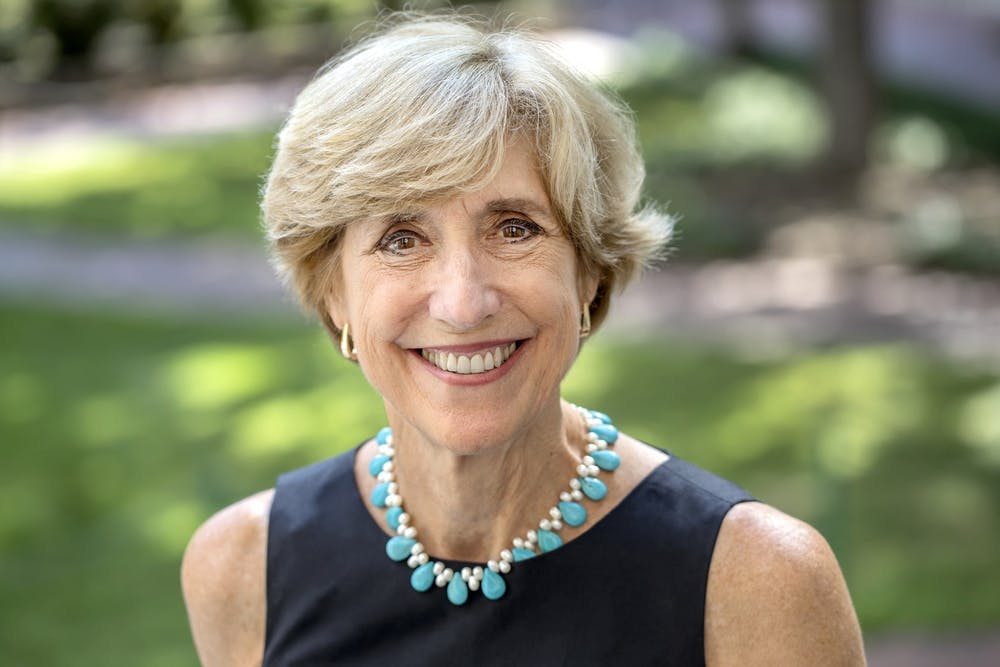 <p>Susan King, the dean of the UNC School of Media and Journalism, is photographed outside of Carroll Hall on August 16, 2017, in Chapel Hill. King is also a John Thomas Kerr Distinguished Professor. Photo courtesy of Johnny Andrews/UNC-Chapel Hill.</p>