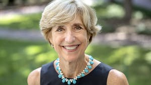 Susan King, the dean of the UNC School of Media and Journalism, is photographed outside of Carroll Hall on August 16, 2017, in Chapel Hill. King is also a John Thomas Kerr Distinguished Professor. Photo courtesy of Johnny Andrews/UNC-Chapel Hill.
