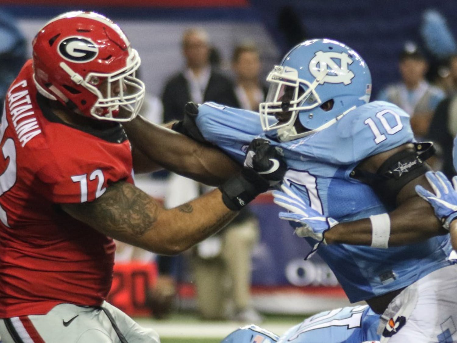 The UNC football team lost to Georgia 33-24 in the Chick-fil-A Kickoff game in the Georgia Domein Atlanta on Saturday.