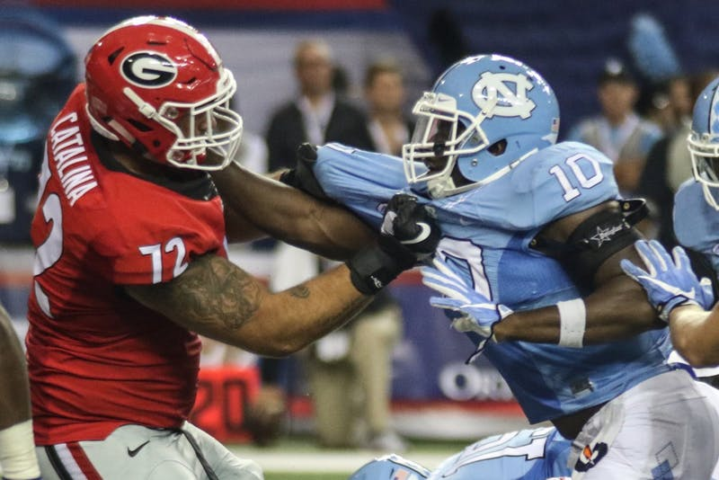 The UNC football team lost to Georgia 33-24 in the Chick-fil-A Kickoff game in the Georgia Dome in Atlanta on Saturday.