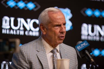 Head men's basketball coach Roy Williams answers post-game questions about the exhibition game against Winston-Salem State on Friday, Nov. 1, 2019 in the Smith Center.