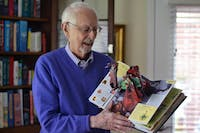 Retired UNC professor Sterling Hennis displays his collection of pop-up books on Tuesday, Nov. 3. He recently donated 1600 of his books to Wilson Library on campus.