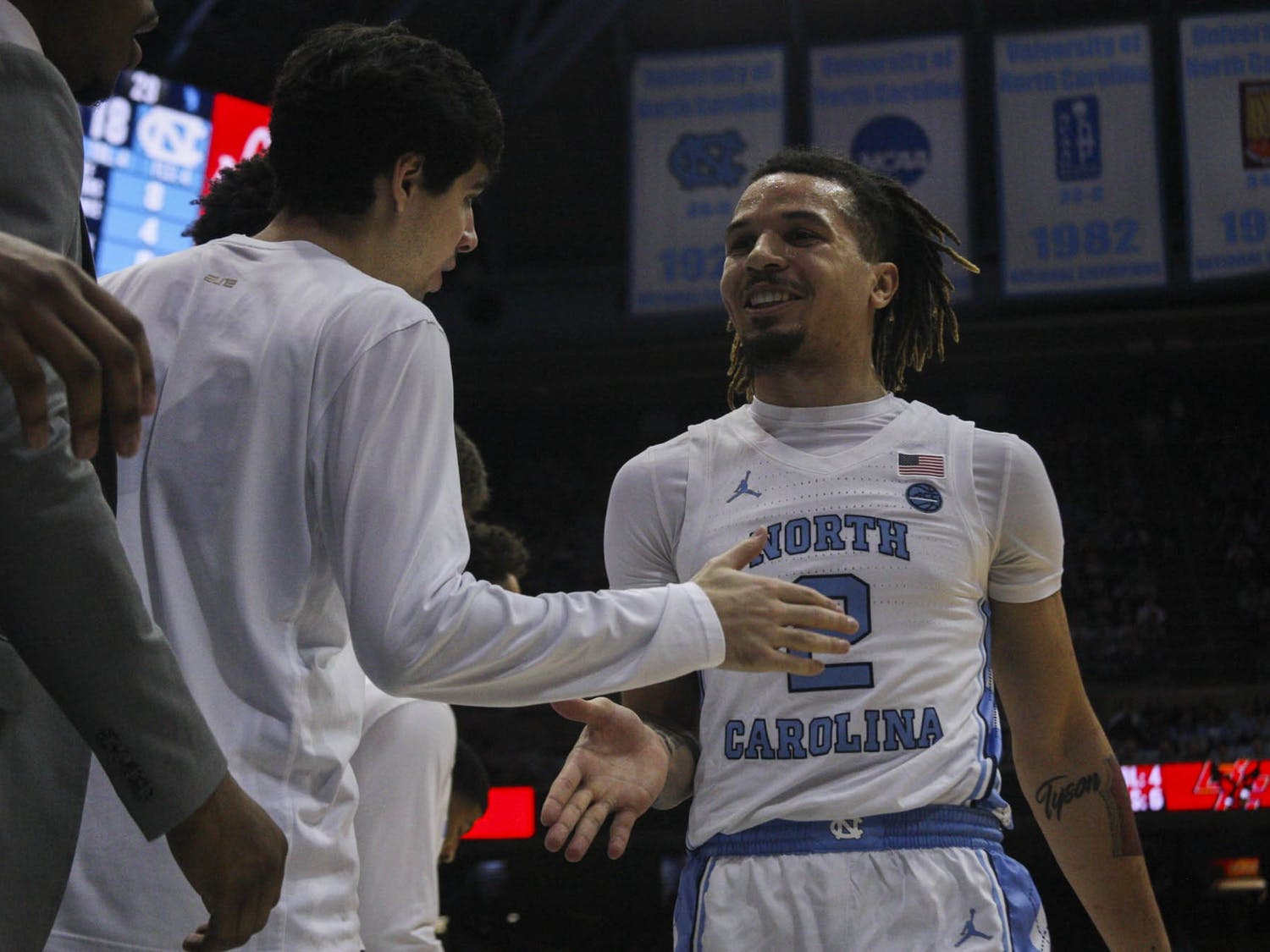 First-year guard Cole Anthony (2) comes out of the game smiling during the game against Boston College on Saturday, Feb. 1, 2020. UNC lost to Boston College 71-70.
