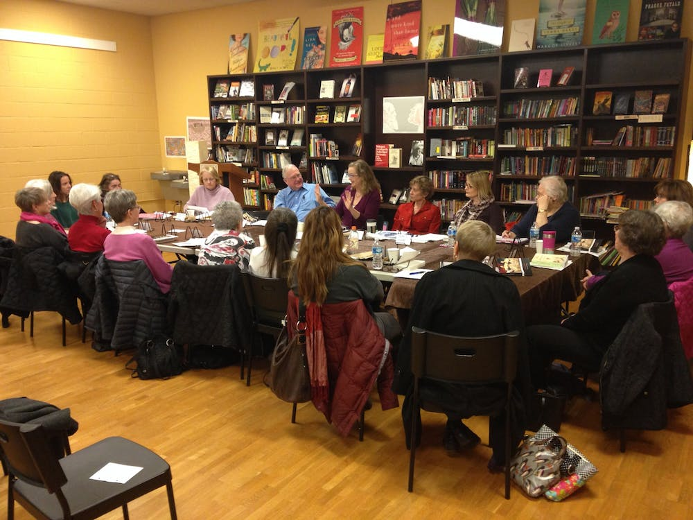 <p>Carolina Public Humanities' Great Books Reading Groups, would meet at Flyleaf books prior to COVID-19. In these groups, UNC lead discussions with community members on a diverse range of books. Photo courtesy of Victoria Breeden.</p>