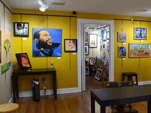 """The """"What's Going On"""" exhibit on display at the Margaret Lane Gallery. Photo courtesy of exhibit co-owner Mary Knox."""