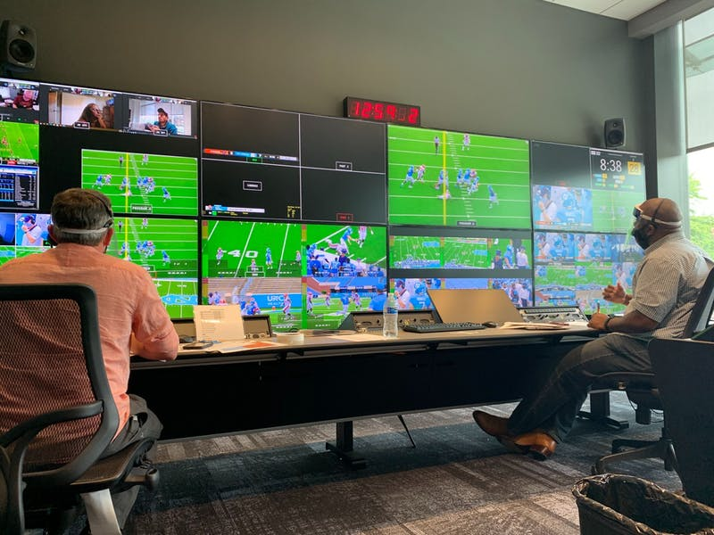 People work in the GoHeels Control Room on Saturday, Sept. 19, 2020. Photo courtesy of Ken Cleary.