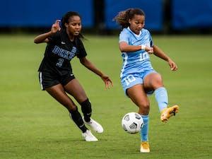 Duke Women's soccer takes on the University of North Carolina at Koskinen Stadium in Durham, NC on September 27, 2020. Photo courtesy of Lindy Brown.