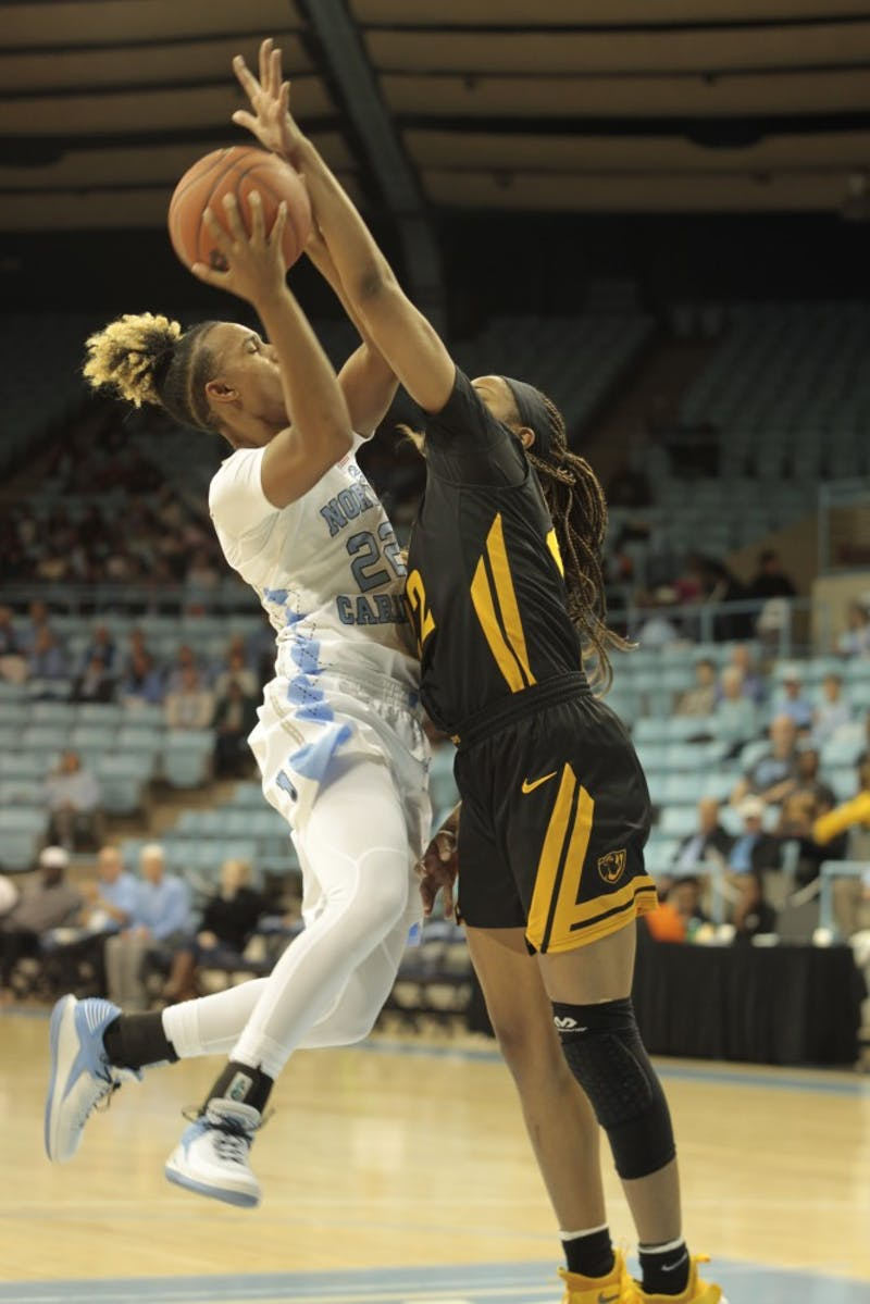 Senior guard Paris Kea (22) goes up for a basket during Wednesday's game against Virginia Commonwealth University at Carmichael Arena. UNC won 59-47.