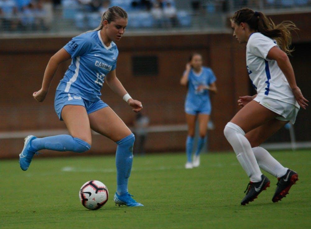 UNC women's soccer overcomes rain, LSU for 1-0 win in Duke Nike Classic