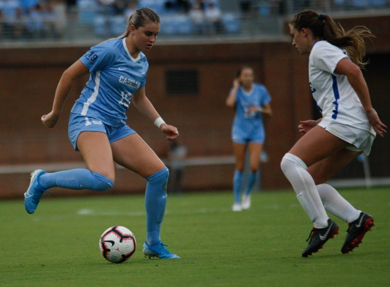 UNC women's soccer forward, Alessia Russo (19) , kicks the ball during a game against Duke on August 25, 2019. UNC beat Duke 2-0.