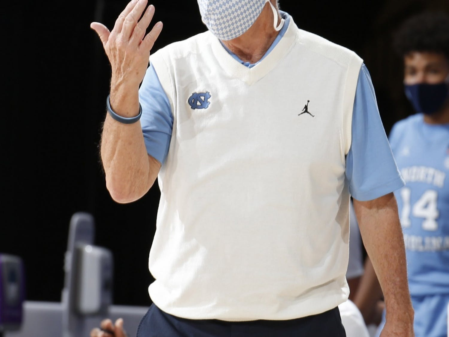 UNC's men's basketball coach Roy Williams communicates with players during a game against Stanford during the Maui Invitational Tournament in Asheville, N.C. on Tuesday, Dec. 1, 2020. UNC beat Stanford 67-63. Photo courtesy of Brian Spurlock/Camping World Maui Invitational.