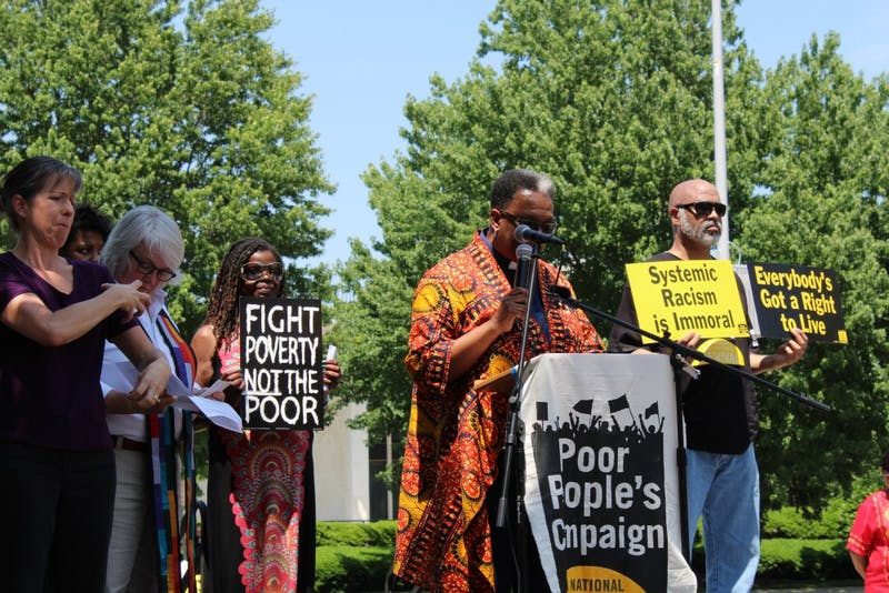 Different speakers took the stage during the May 14 rally for the North Carolina Poor People's Campaign in Raleigh.
