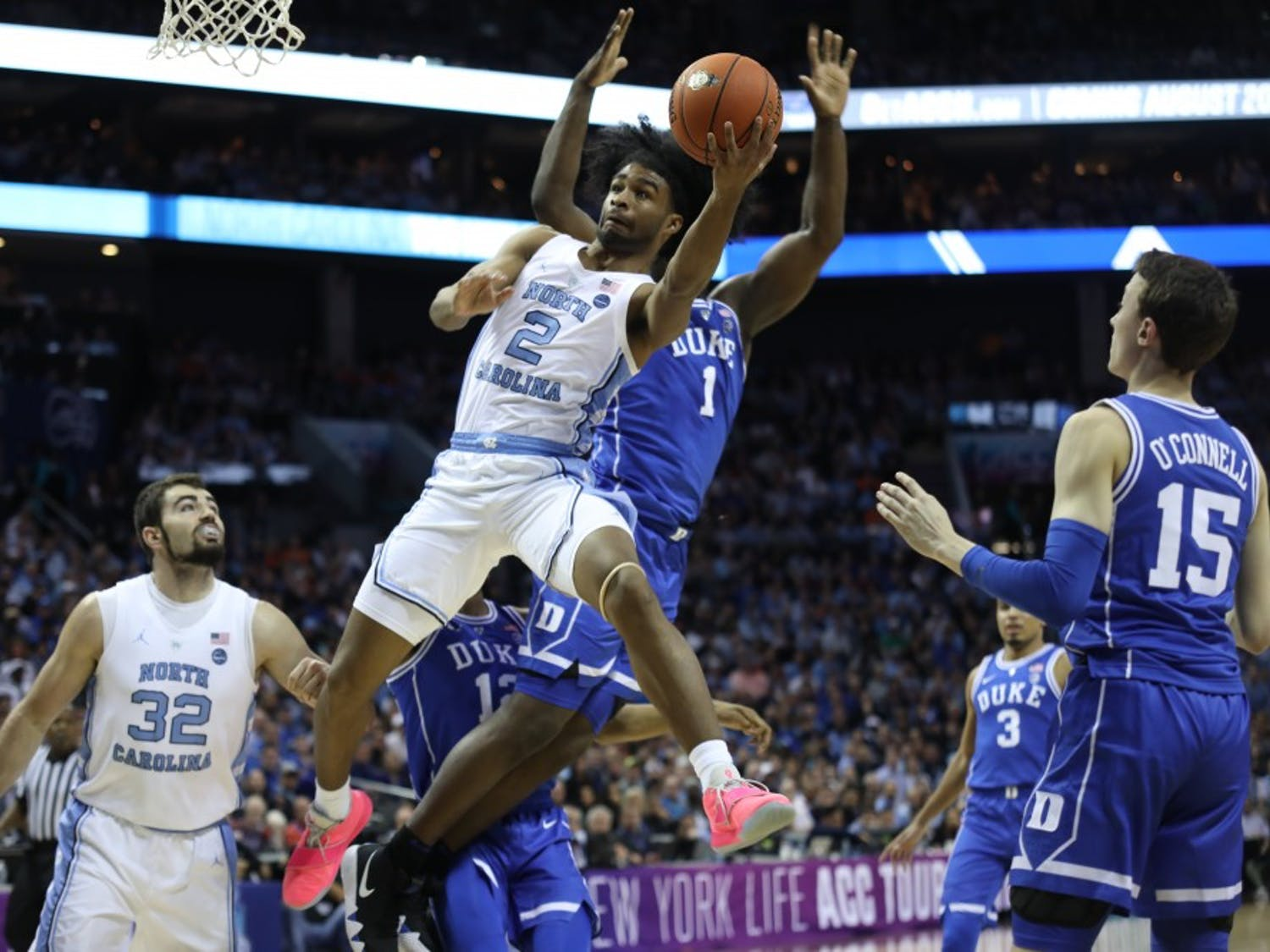 First-year guard Coby White (2) goes for a layup against Duke during the semifinals of the ACC Tournament at the Spectrum Center in Charlotte, N.C. on Friday, March 15, 2019. UNC fell to Duke 73-74.