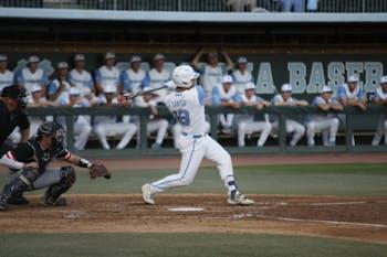 Freshman Aaron Sabato (19) bats for the Tar Heels during UNC's 12-4 win over Davidson on April 10, 2019 at Boshamer Stadium.