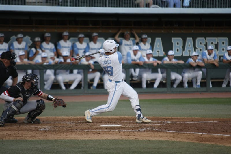 Freshman Aaron Sabato (19) bats for the Tar Heels during UNC's 12-4 win over Davidson on April 10, 2019 at Boshamer Stadium.