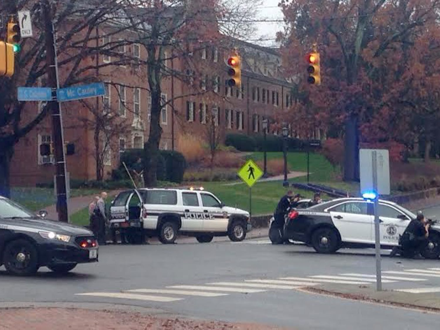 UNC police gather on campus in response to an anonymous 911 phone call at 8:22 on Dec. 2. in 2016