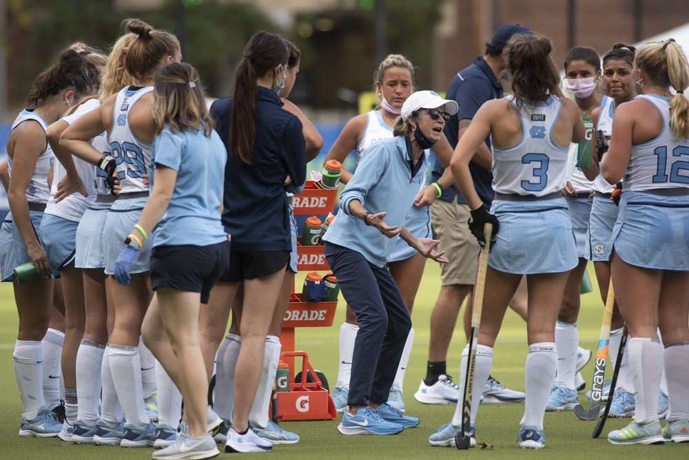Karen Shelton talks to her team during a timeout during the ACC Field Hockey Championship game against Louisville on Nov. 8, 2020 in the Karen Shelton Stadium. UNC beat Louisville 4-2, securing their fourth consecutive tournament championship.