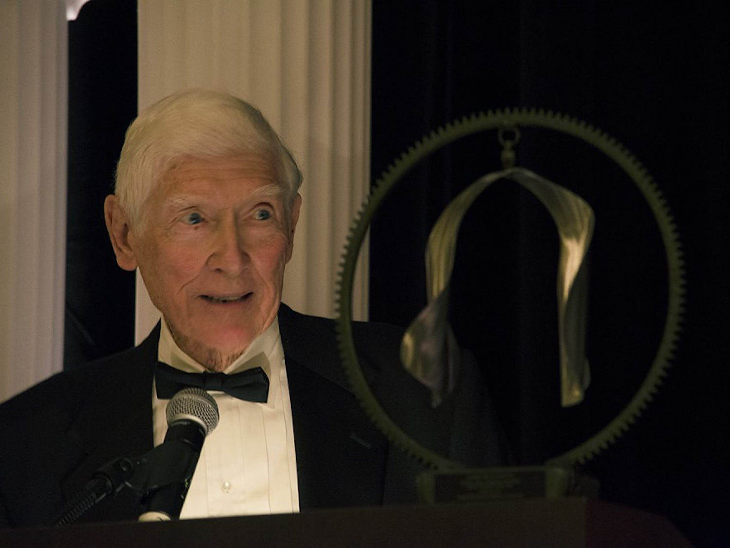 The Chapel Hill-Carrboro Chamber of Commerce honored Sandy McClamroch, the founder of the flagship local radio station WCHL and former Chapel Hill mayor.