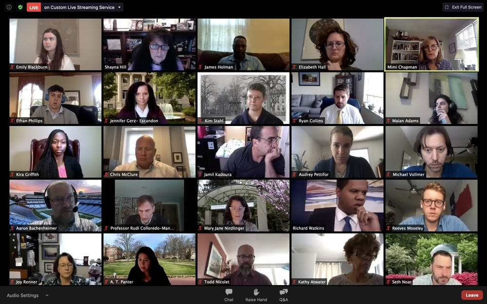 Screenshot from the virtually-held Campus and Community Advisory Committee meeting, where Spring 2021 plans, surveillance, COVID-19 testing, and class formats were discussed.