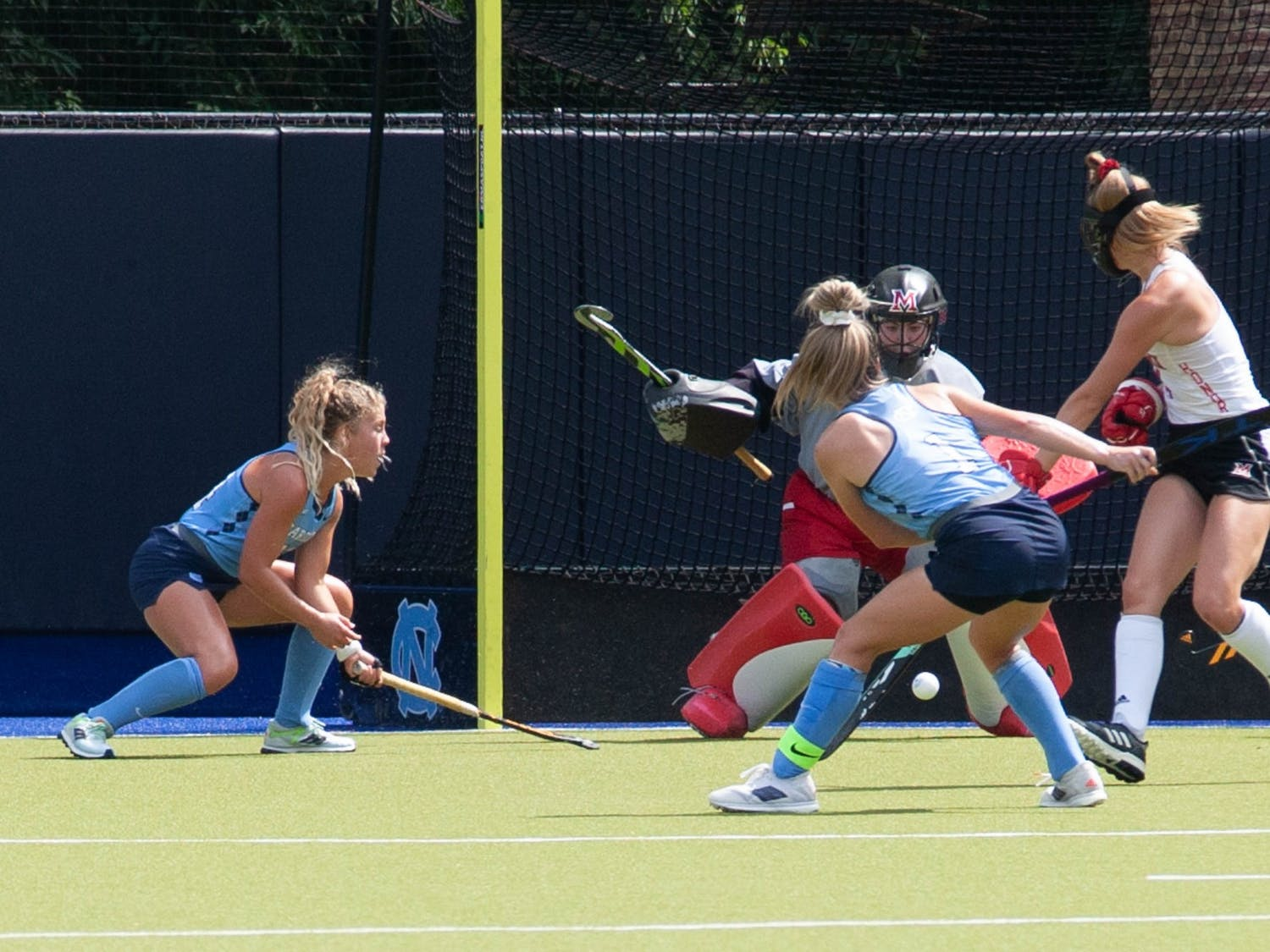 UNC senior forward Erin Matson (1) makes a goal attempt during the field hockey game against the Miami Redhawks at Karen Shelton Stadium on Sept. 19, 2021. The Tar Heels defeated the Redhawks 7-2.