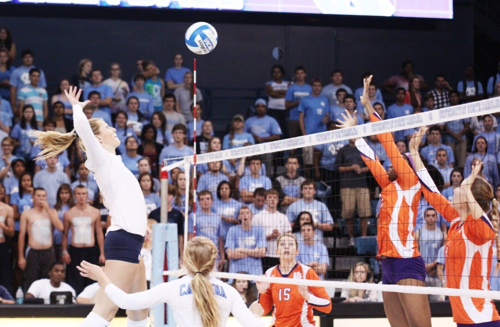 <p>Senior Tia Gaffen prepares to attack in UNC's 3-1 win against Clemson. Gaffen recorded eight kills against the Tigers and two blocks. </p>
