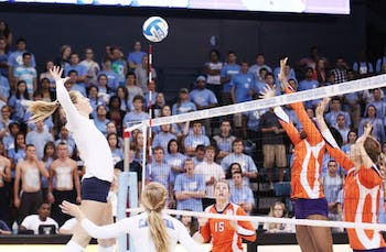 Senior Tia Gaffen prepares to attack in UNC's 3-1 win against Clemson. Gaffen recorded eight kills against the Tigers and two blocks.
