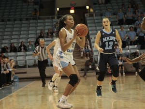 UNC junior guard Stephanie Watts (5) looks to score a 3-pointer during the game against Maine on Sunday, Dec. 2, 2018. UNC lost to Maine 85-73.
