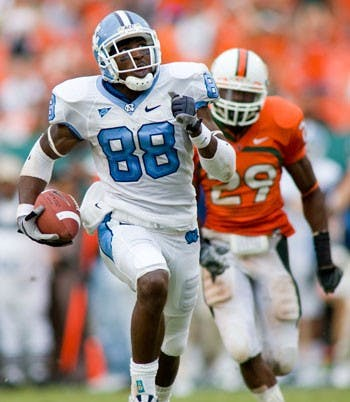 North Carolina wide receiver Hakeem Nicks runs away with a pass from Cam Sexton in the fourth quarter of UNC?s win against Miami. Nicks scored on the 74-yard breakaway to spur on the Tar Heels? rally. ?Once he made that play that?s all we needed? senior safety Trimane Goddard said.
