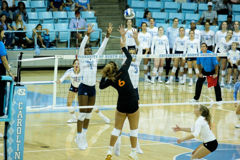 Young talent, veteran leadership mix in UNC volleyball's win over Miami