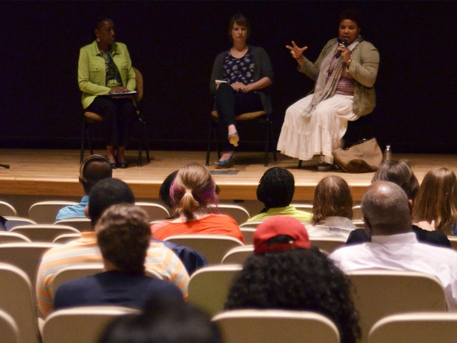 """Co-producer of """"Ferguson: A Report from Occupied Territory,"""" Katina Parker (right),  participates in a panel discussion Monday."""