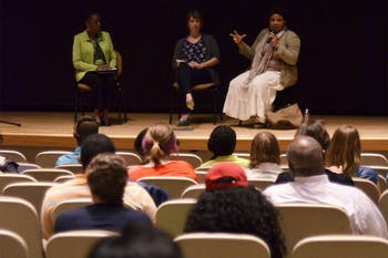 "Co-producer of ""Ferguson: A Report from Occupied Territory,"" Katina Parker (right),  participates in a panel discussion Monday."
