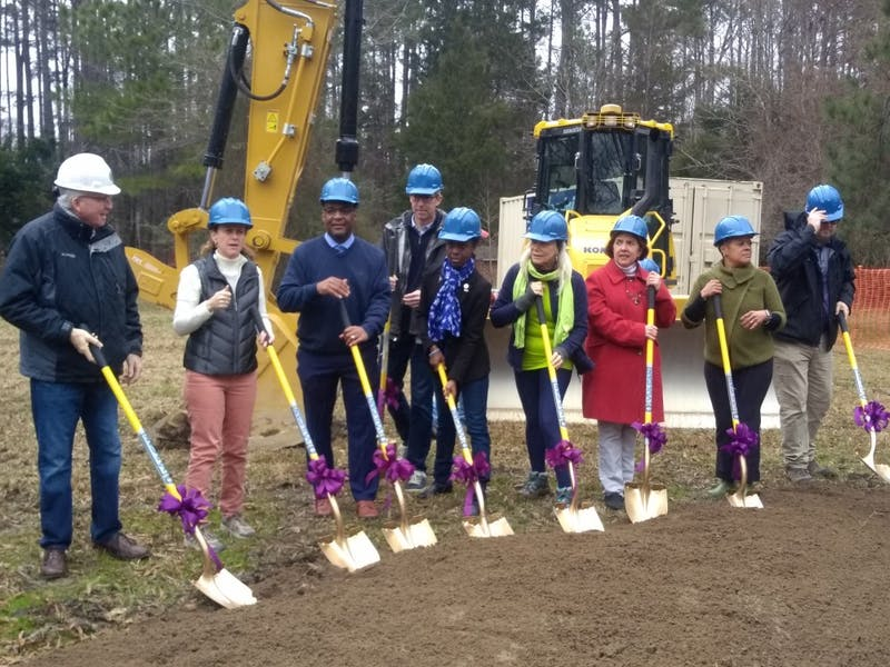 Current and former Carrboro town officials kick off the construction process for the Martin Luther King Jr. Park on Saturday, Jan. 19, 2019.