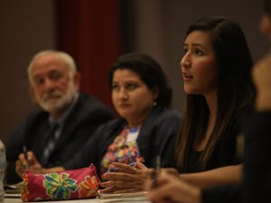 UNC senior Rubi Franco Quiroz speaks on Sept. 18 at the DACA in Crisis event, a panel discussion comprised of lawyers, activists and students about how to support the undocumented and DACAmented community.