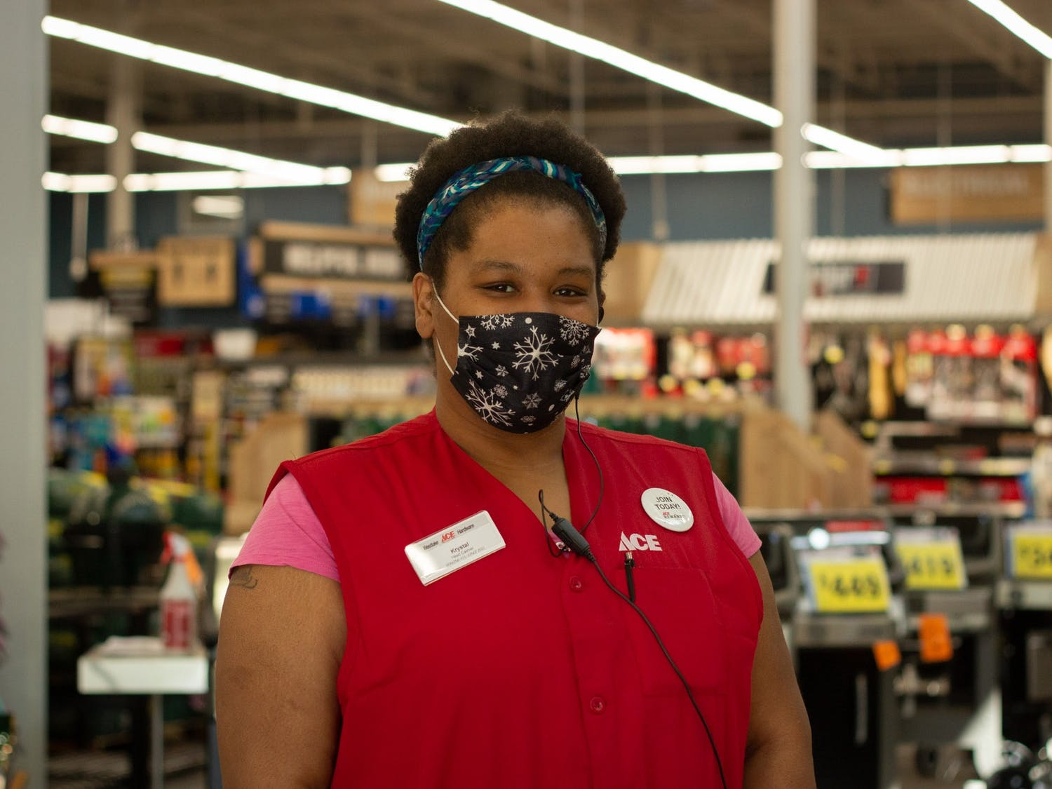 Krystal L., 37, is  the head cashier of the newly opened Westlake Ace Hardware in Chapel Hill, NC on Wednesday, April 7th, 2021.
