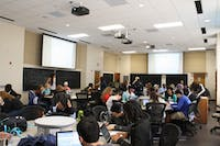 Classroom 335 in Phillips Hall was renovated in 2015 to enhance interactive learning. Photo by Lauren Daly.