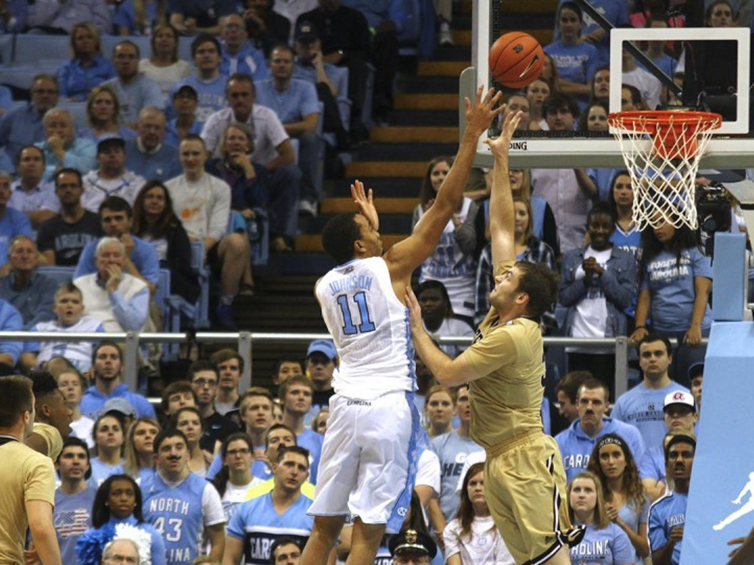 Brice Johnson (11) scores over a Wofford player Wednesday night. The Tar Heels won 78-58.